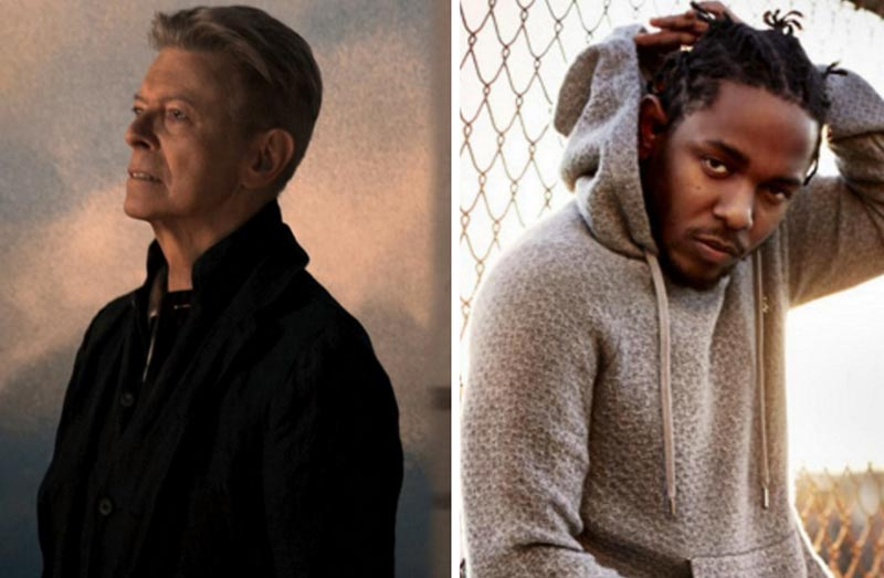 An image of David Bowie and Kendrick Lamar